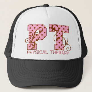 pt pink and brown polka dots trucker hat