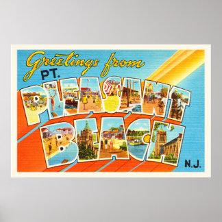 Pt Pleasant Beach New Jersey NJ Vintage Postcard- Poster