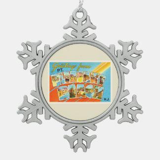 Pt Pleasant Beach New Jersey NJ Vintage Postcard- Snowflake Pewter Christmas Ornament