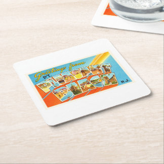 Pt Pleasant Beach New Jersey NJ Vintage Postcard- Square Paper Coaster
