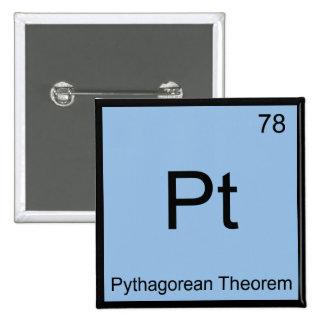 Pt - Pythagorean Theorem Chemistry Element Symbol Pinback Button