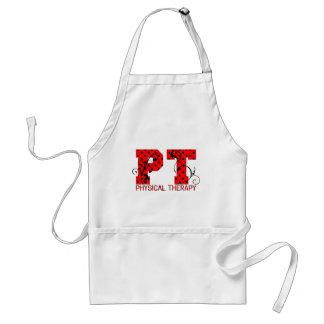 pt red black polka dots adult apron