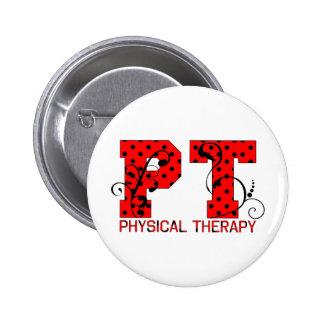 pt red black polka dots pinback button