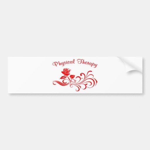 pt rose scroll red car bumper sticker