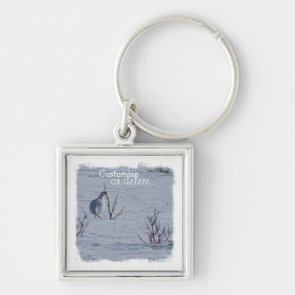 Ptarmigan Snacking; Customizable Silver-Colored Square Keychain