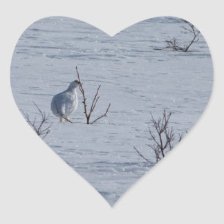 Ptarmigan Snacking Heart Sticker