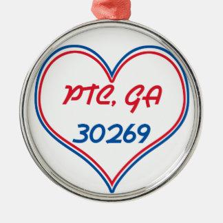 PTC GA 30269 - Heart Round Metal Christmas Ornament