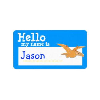 Pteranodon anaranjado hola mi nombre es azul de la etiquetas de dirección