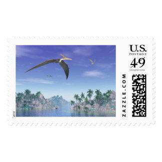 Pteranodon dinosaurs flying - 3D render Postage