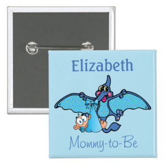 Pterodactyl Dinosaur It's a Boy Baby Shower 2 Inch Square Button