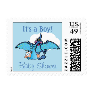 Pterodactyl Dinosaur It's a Boy Baby Shower Postage