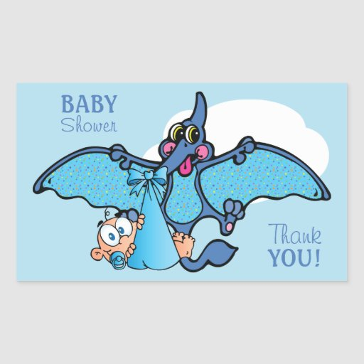 Pterodactyl Dinosaur It's a Boy Baby Shower Rectangular Sticker