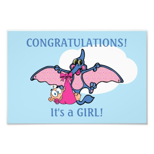 Pterodactyl Dinosaur It's a Girl Baby Shower Photographic Print