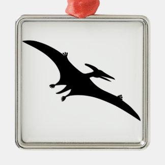 Pterodactyl Dinosaur Square Metal Christmas Ornament