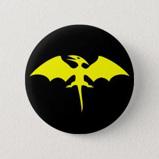 Pterodactyl Dinosaur Superhero Logo Button