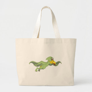 Pterodactyl Green Cartoon Tote Bags