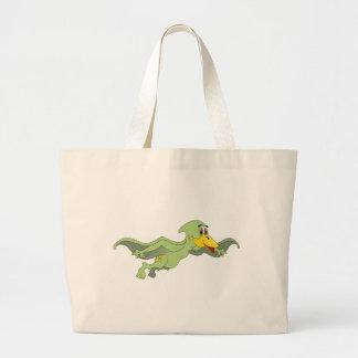 Pterodactyl Green Cartoon Large Tote Bag