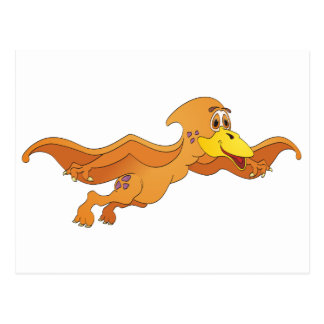 Pterodactyl Orange Cartoon Postcard