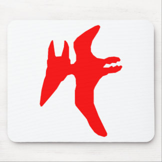 Pterodactyl Silhouette (Red) Mouse Pad