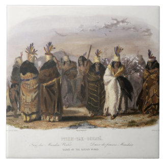 Ptihn-Tak-Ochata, Dance of the Mandan Women, plate Large Square Tile