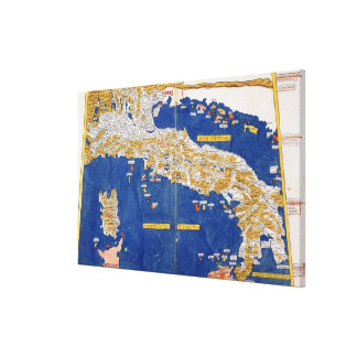 Ptolemaic Map of Italy, 1482 (coloured litho) Canvas Print