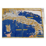 Ptolemaic Map of Italy, 1482 (coloured litho) Card