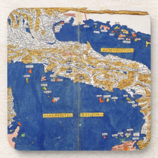 Ptolemaic Map of Italy, 1482 (coloured litho) Coasters