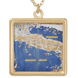 Ptolemaic Map of Italy, 1482 (coloured litho) Gold Plated Necklace