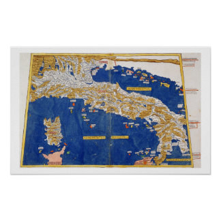 Ptolemaic Map of Italy, 1482 (coloured litho) Poster