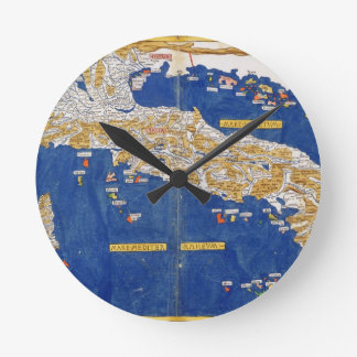 Ptolemaic Map of Italy, 1482 (coloured litho) Round Clock