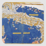 Ptolemaic Map of Italy, 1482 (coloured litho) Square Sticker