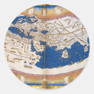 Ptolemy's world map classic round sticker