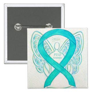 PTSD Awareness Ribbon Teal Angel Custom Art Pins