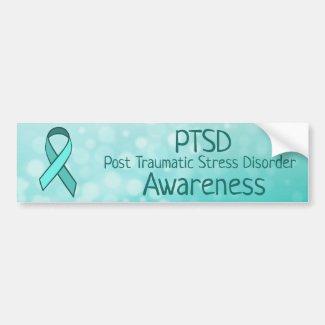 PTSD Awareness TealRibbon Bumper Sticker