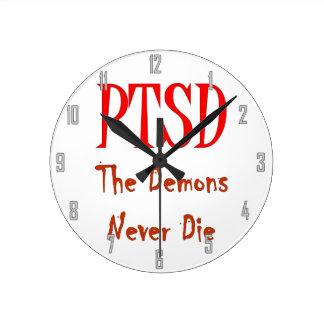 PTSD, THE DEMONS NEVER DIE ROUND WALL CLOCK