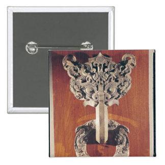 P'u shou' door knocker with a taotie design pinback button