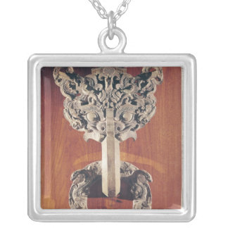 P'u shou' door knocker with a taotie design silver plated necklace