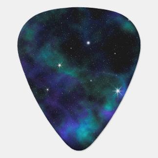 Púa de guitarra azul y verde de la galaxia