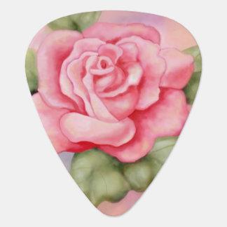 Púa de guitarra color de rosa rosada