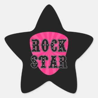 Púa de guitarra de la estrella del rock pegatina en forma de estrella