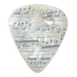 Púa de guitarra de las notas musicales púa de guitarra celuloide nacarado
