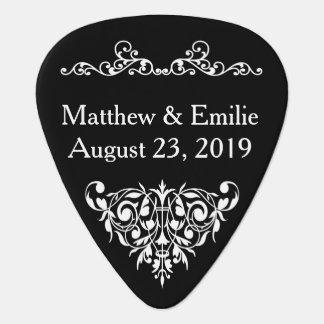 Púa de guitarra del favor del boda - negro adornad