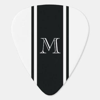 Púa de guitarra del monograma de la raya del corre
