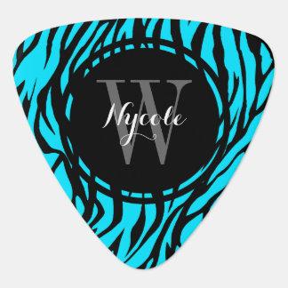 Púa de guitarra personalizada cebra azul