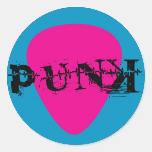 Púa de guitarra punky en rosa y azul pegatina redonda