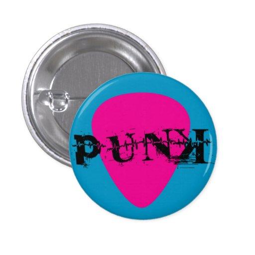 Púa de guitarra punky en rosa y azul pins