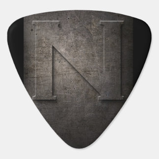 Púa de guitarra rústica del monograma del metal