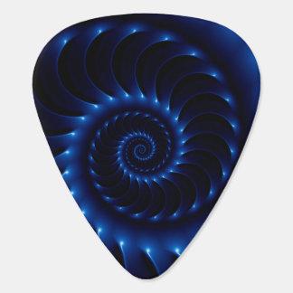 Púas de guitarra espirales azules brillantes del plumilla de guitarra