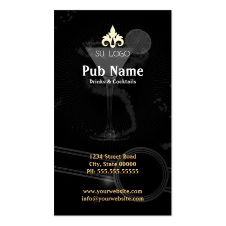 Stylish Black Gray and White Cocktail Bar or Night Club Business Cards