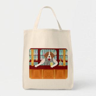 Pub de la cerveza del beagle bolsa tela para la compra